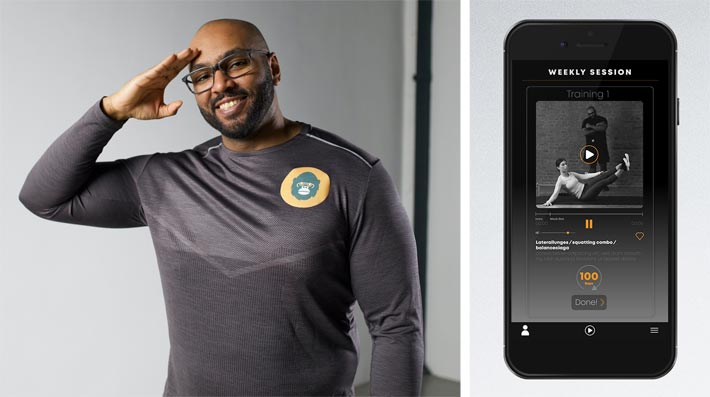 Images: (from left) Portrait of Skillbeast founder and personal trainer Otmane 'Oti' Kabietadiko. Right: Screenshot of the new fitness app 'Oti2Go' (launch on 10 January 2020).