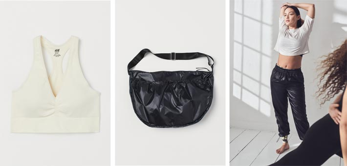 The seamless sports bh, bag and at the campaign image right on view the sport shirt, sport trousers worn over sport tights from the new H&M activewear collection are from the 'Conscious' line and made mainly from recycled materials; launched in January 2020. Photos: © H&M.